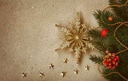 Vintage Christmas background with golden snowflake Royalty Free Stock Images