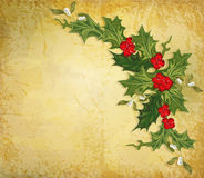 Vintage christmas background with holly stock photos