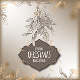 Vintage Christmas background with mistletoe branch. Decorations. Based on hand drawn sketch. Great for greeting cards and holiday design Stock Photos