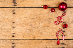Vintage christmas background with musical notes - copy space Royalty Free Stock Photo