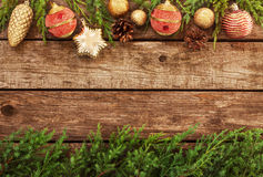 Vintage Christmas Background - Old Wood And Pine Branch Stock Photo