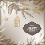 Vintage Christmas background with pine branch. And holiday decorations. Based on hand drawn sketch. Great for greeting cards and holiday design Royalty Free Stock Photos