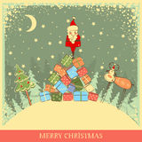 Vintage Christmas background with Santa on old car Royalty Free Stock Photos