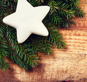Vintage christmas background with white festive  star. Christmas Royalty Free Stock Photography