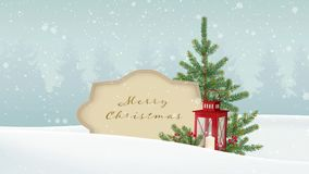 Vintage Christmas background. White winter landscape with forest, paper banner, falling snow, festive decoration with fir royalty free illustration
