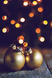 Vintage Christmas balls on the background lights Christmas tree Royalty Free Stock Photography