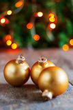 Vintage Christmas balls on the background lights Christmas tree Royalty Free Stock Photos