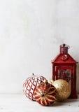 Vintage Christmas balls and a lantern Stock Photos