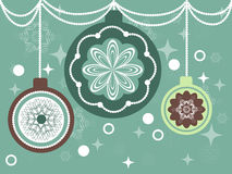 Vintage Christmas balls. Christmas balls in a vintage style background with snowflakes Stock Image