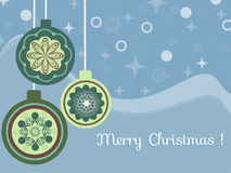 Vintage christmas. Christmas balls in vintage style on a blue background stock illustration