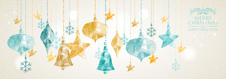 Vintage Christmas banner hanging balls composition Royalty Free Stock Images