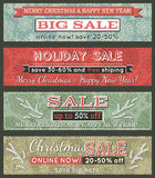 Vintage christmas banners with sale offer, vector. Illustration Royalty Free Stock Photos