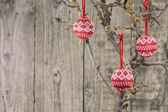 Vintage Christmas baubles over wooden background Stock Images