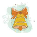 Vintage Christmas Bell Card Stock Photos