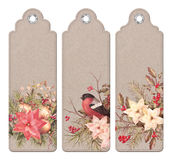 Vintage Christmas Bookmark. Set of Christmas vintage tags or bookmarks with watercolor compositions Stock Photography