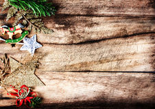 Vintage Christmas border with copy space, xmas decoration ans br Royalty Free Stock Image