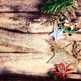 Vintage Christmas border with copy space, xmas decoration ans br Royalty Free Stock Photo