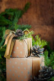 Vintage Christmas Boxes with natural decor, toned image Stock Image