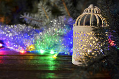 Vintage Christmas candlestick and Christmas garlands Royalty Free Stock Photo
