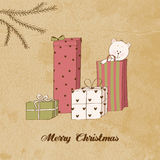 Vintage Christmas card. With gifts and teddy bear Royalty Free Stock Image