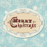 Vintage Christmas card. Christmas lettering in retro style. Can be used separately from background Stock Image