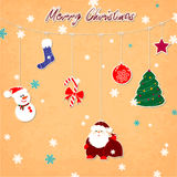 Vintage Christmas card. With snowman, snowflakes, Santa Claus Stock Photography