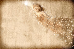 Vintage Christmas Card Angel Stock Photography
