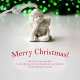 Vintage christmas card with angel and copy space for greeting text Royalty Free Stock Image