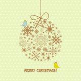 Vintage christmas card with ball, snowflakes Royalty Free Stock Image