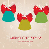 Vintage christmas card with bells Royalty Free Stock Image