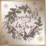 Vintage Christmas card with brush lettering, mistletoe and pine wreath. Stock Images