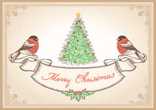 Vintage Christmas card with bullfinches.Vector ill Royalty Free Stock Photo