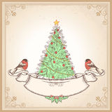 Vintage Christmas card with bullfinches.Vector ill Stock Photo