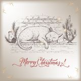 Vintage Christmas card with cat sleeping on decorated fireplace mantel and holiday brush lettering. Based on hand drawn sketch. Great for holiday design Stock Image