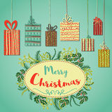 Vintage Christmas Card with christmas gifts and plants. Retro hand drawn Stock Photography