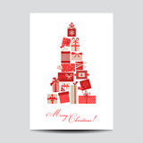 Vintage Christmas Card with Christmas Gifts Royalty Free Stock Photography