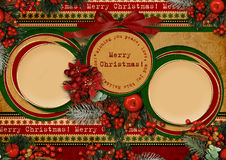 Vintage Christmas card with circle frame Royalty Free Stock Photography
