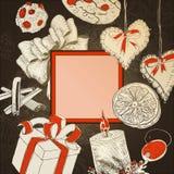 Vintage Christmas card at Dark backdrop Royalty Free Stock Photo