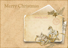 Vintage Christmas card with a decorative horse Stock Image
