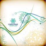 Vintage Christmas card with decorative snowflakes Stock Photos