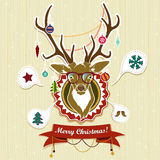 Vintage Christmas card with deer Royalty Free Stock Photography