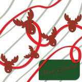 Vintage Christmas Card With Deers. Merry Christmas Lettering Stock Photo