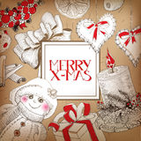 Vintage Christmas card with drawings and lettering Royalty Free Stock Images