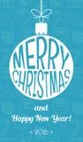 Vintage christmas card. Flat design. Vector. Illustration Stock Images