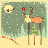 Vintage Christmas card with funny bull in holiday  Royalty Free Stock Images