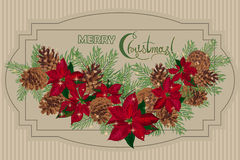 Vintage Christmas card with garlandof pine cones and puansetia Royalty Free Stock Photo