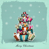 Vintage Christmas Card with  gift box. | EPS10 Compatibility Required Royalty Free Stock Photos