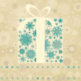 Vintage Christmas card with gift box. EPS 8 Stock Photography