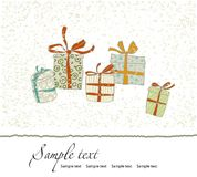 Vintage Christmas card with gift boxes. Vector Royalty Free Stock Photo
