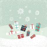 Vintage Christmas card with gifts and snowflakes. Vector illustration. Greeting card Stock Images
